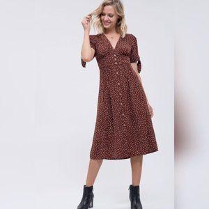 Blu Pepper Short Sleeve Dot Print Dress